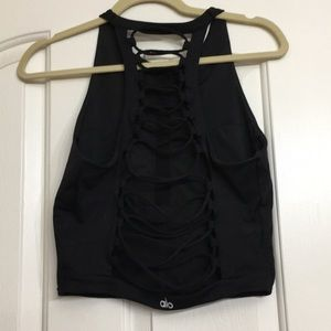ALO Yoga Movement Tank/Sports Bra - Black Large